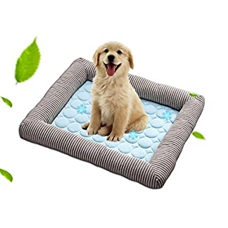 Aolvo Cooling Pad/Mat/Bed for Dogs & Cats, Cool Padded Dog Bolster Bed Extra Large, 27.55″ X 19.68″, Edge As Pillow – Cool Fabric, Non Toxic, Easy To Clean – Keep Pets Cool, Cool Stuff for Pet, Blue 51jD9 2BTEJZL