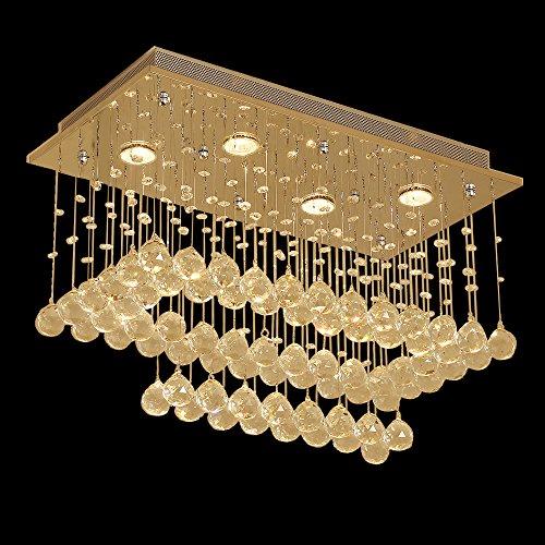 Glas Esszimmer (Glighone LED Kristall Deckenleuchte Glas Kronleuchter Modern Pendelleuchte Anhänger Kristallkronleuchter mit 4x GU10(inklusiv) für Wohnzimmer Esszimmer Schlafzimmer Treppenhaus Korridor Flur Hotel..)