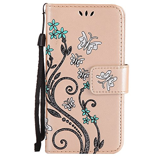 Price comparison product image HUAWEI Y3 II /Y3 2 Case Gold Leather, Cozy Hut Retro Butterfly Flower Patterned Embossing PU Leather Stand Function Protective Cases Covers with Card Slot Holder Wallet Book Design Detachable Hand Strap for HUAWEI Y3 II /Y3 2 - Gold