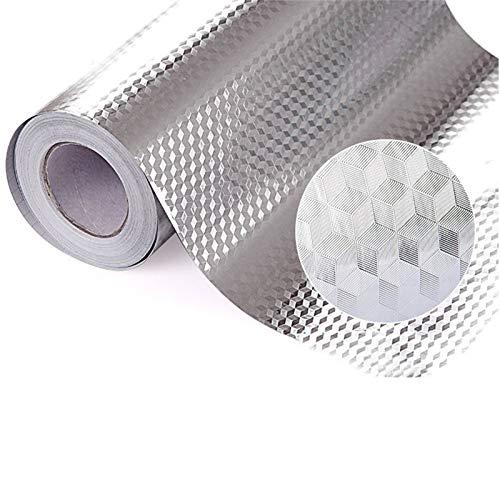JF Room Aluminium Aufkleber Küchen Selbstklebende Küchenfolie Hitzebeständig Tapete Öl-Resistent Wasserdicht Anti-Schimmel DIY Möbel Folie für Schrank Küchentapetenaufkleber -