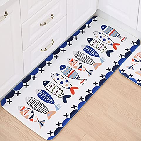 SANNIX Kicthen Area Carpet Fish Shaped Design Bath Room Rug Non-Skid Washable Home Decor Dining Room