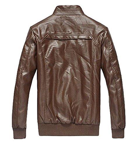PLAER Pour des hommes mode manteau Outdoor Leisure PU veste en cuir Marron
