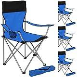 TecTake 4er Set Campingstuhl Anglersessel blau/schwarz wasserabweisend mit Getränkehalter inkl. Tragetasche Regiestuhl