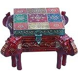 Generic Atc Multicolor Wooden Hand Painted Decorative Box & Ganesh Ji Shape Foot Rest