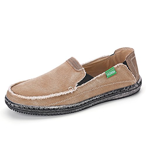 JOINFREE Herren Loafer Schuhe Canvas Slip auf Casual Outdoor Sneaker Khaki, 42 EU