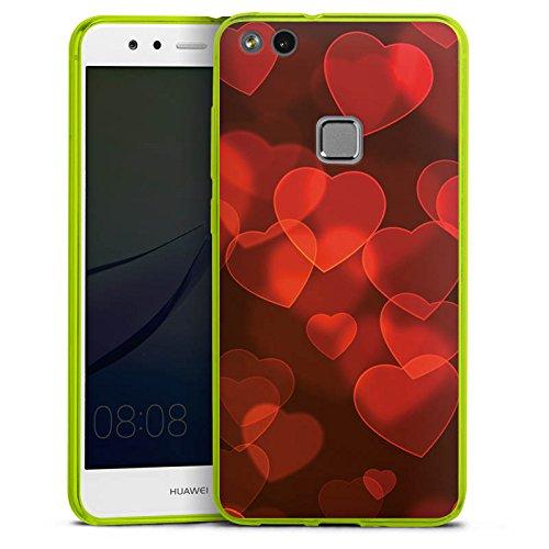 DeinDesign Huawei P10 lite Slim Case transparent neon grün Silikon Hülle Schutzhülle Verblasste Herz Muster Pattern -