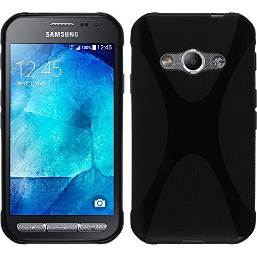 Coque en Silicone pour Samsung Galaxy Xcover 3 - X-Style noir - Cover PhoneNatic Cubierta + films de protection