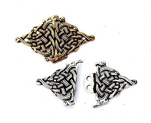 Pera Gewandschließe im Keltisch Stil Silber Mittelalter Schmuck für Kleider, Trachten o. historische Kostüme