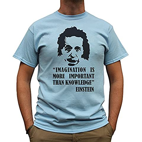 Nutees Einstein Imagination is More Important Than Knowledge Herren T Shirt - Licht Blau X-Large