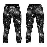 COOLOMG Kompression Hose Laufhose Länge Hosen und 3/4 Tights Capri Kalb-lange Hosen- Funktionswäsche Base Layer für Herren Weiß M
