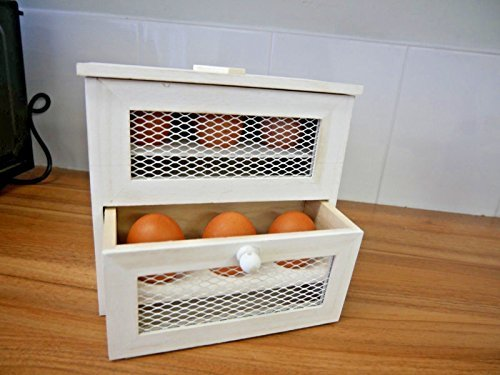 Homezone rustico shabby chic in legno a 2 piani, rastrelliera porta uova, uova a forma di pino farmhouse kitchen egg box basket. autoportante o da parete egg storage box.