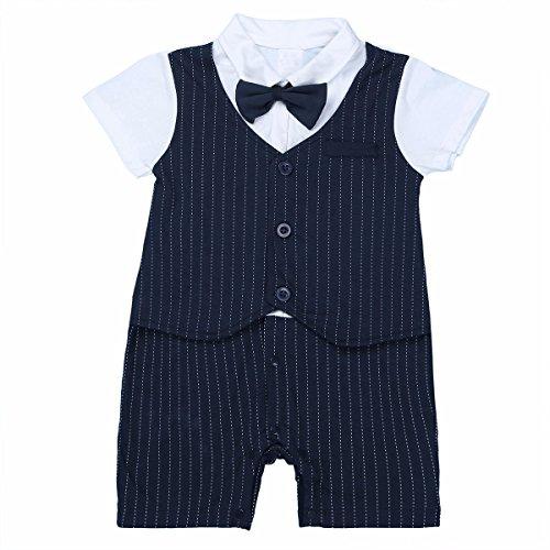 Freebily Strampler Baby Junge Smokings Gentleman Bodysuit Anzug Outfits Babyanzug Bekleidungssets Kleikind Festliche Anzug fr 3-24 Monate, Marineblau, 80-86 (Overall Fr)