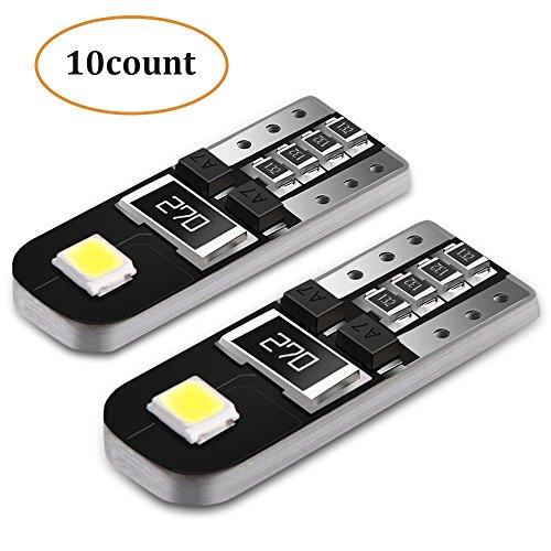 T10 Wedge LED Birne, 6000K Xenon weiß 2835 LED Ersatzbeleuchtung, Innenbeleuchtung, Deckenleuchte, Gepäckraumbeleuchtung, Beifahrerseite, extrem hell, 10 Stück, AGPTEK