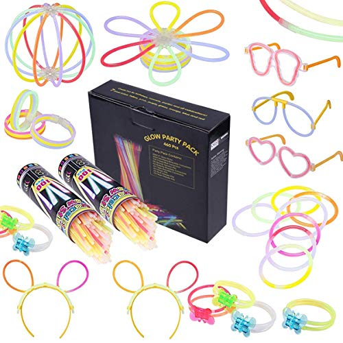 bänder Glowstick mit 200 Steckverbindern, Dreifache Armbänder, Ein Stirnband, Ohrringe, Blumen, Eine glühkugel & vieles ()