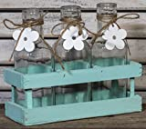 3 Flaschenvasen mit Blümchenanhänger in kleinen Holzrahmen, Vintage-Stile, mint