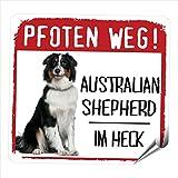 AUSTRALIAN SHEPHERD MOTIV 3 PFOTEN WEG kleiner Auto Aufkleber Hundeaufkleber REFLEKTIEREND REFLECTIVE Siviwonder No.3