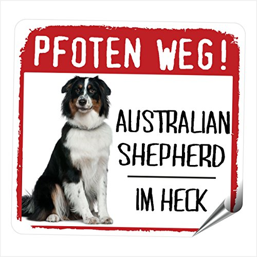 AUSTRALIAN SHEPHERD MOTIV 3 PFOTEN WEG kleiner Auto Aufkleber Hundeaufkleber REFLEKTIEREND REFLECTIVE Siviwonder No.3 -
