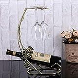 MEICHEN Weinregal europäischen Retro-Rotglas-Rotglas-Rantabengal auf den Kopf gestellt kreative Mode legte Rotweinregal Eisenornamente,Gold