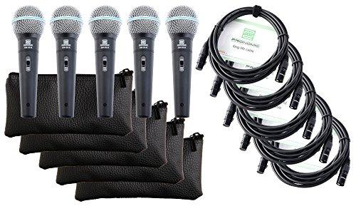 Pronomic DM-58-B Vocal Mikrofon mit Schalter 5er SET inkl. 5x 5m XLR Kabel mit Druckvollem, warmem Klang A/b-schalter