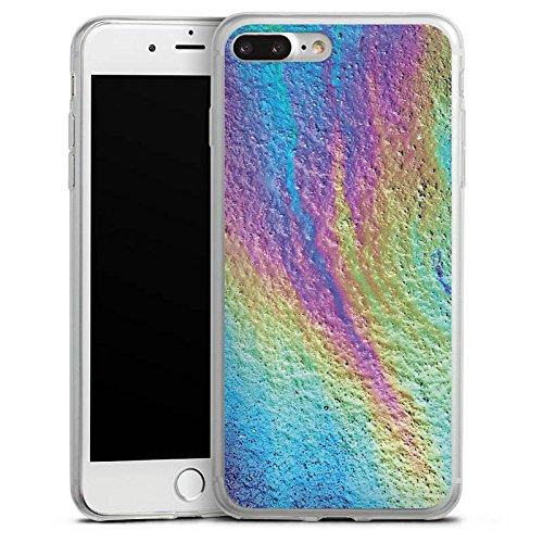Apple iPhone 8 Plus Slim Case Silikon Hülle Schutzhülle Regenbogen Farben Muster Silikon Slim Case transparent