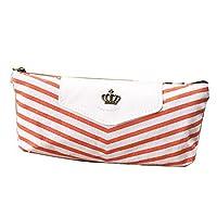 Navy Cosmetic Bag Student Pen Bag Canvas Travel Box for Ladies Orange 19.5x8cm
