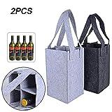 BUONDAC 2 pz Borsa Porta Bottiglie Vino Acqua in Feltro 4 Scomparti con Manici Sacchetto Pieghevole (Griogio Scuro + Grigio Chiaro)