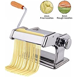 Saiyam Stainless Steel Pasta, Noodle, Spaghetti or Fettuccini Maker with 150 Roller, Silver