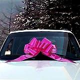 GiftWrap Etc. Ruban de Cadeau pour Voiture Big Car - Grande décoration, Fuchsia Rose Chaud, entièrement assemblé, 25' de Large, Rubans de Sensibilisation au Cancer du Sein, Noël
