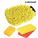 DUNLOP 4-teiliges Premium Auto & Motorrad Waschset | 2in1 Chenille Waschhandschuh | 2x Mikrofasertuch | Insektenschwamm