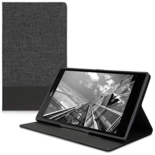 13e86062ba9 kwmobile Case for Sony Xperia Tablet Z3 Compact - PU Leather and Canvas  Protective Cover with Stand Feature - Anthracite/Black