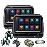 XTRONS® 2 x 22,9 cm Paar Touchscreen Auto Kopfstütze DVD Player Spiel 1080P Video Integrierter HDMI Port Kopfhörer im Lieferumfang enthalten