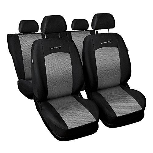 Saferide | Universal Silber Komplettset PKW Sitzbezug für Auto Sitzschoner Set Schonbezüge...