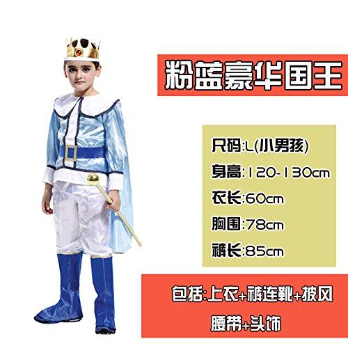 LongBai Halloween kostüm Kinder Kleidung zeigen erwachsenen männlichen Kind Kämpfer Prince Cosplay Kostüme, 33 # King Blue Deluxe King (L)