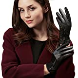 - 51jDH4VXuxL - GSG Womens Trendy Genuine Leather Gloves Vintage Wave Patterns Rivets Decor Black Gloves