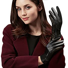 GSG Womens Trendy Genuine Leather Gloves Vintage Wave Patterns Rivets Decor Black Gloves