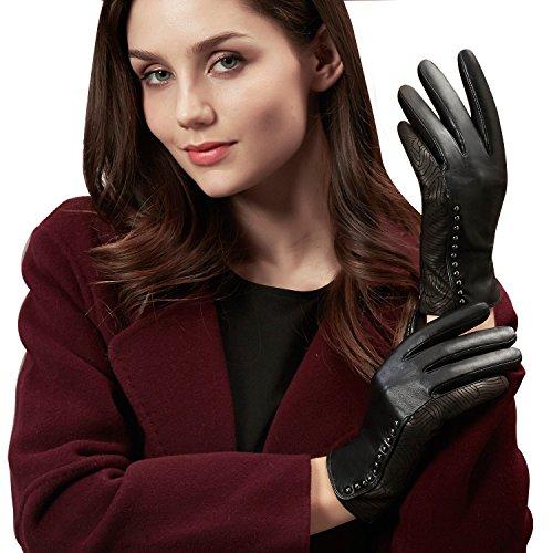 - 51jDH4VXuxL - GSG Womens Trendy Genuine Leather Gloves Vintage Wave Patterns Rivets Decor Black Gloves  - 51jDH4VXuxL - Deal Bags