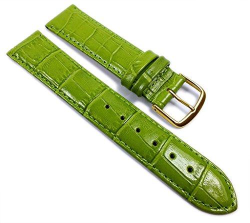 Louisiana Print XL Ersatzband Uhrenarmband Leder Grün 21909G, Anstoß:20 mm