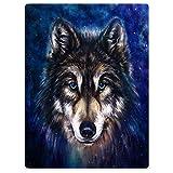 YISUMEI Decke 150x200 cm Kuscheldecken Sanft Flanell Weich Fleecedecke Bettüberwurf Wolf Blau