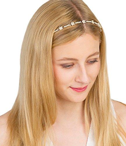 SIX'Hochzeit' schmaler silberner Haarreif mit Blumen aus weißen Perlen & Strasssteinen Brautschmuck (315-463)