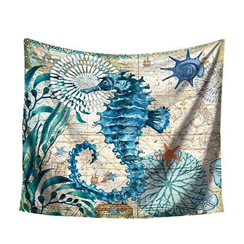 Depory Blue Marine Style Beach Tapestry Tenda da Parete in Stile Europeo Arredamento per la casa per Sfondo in Tessuto per Camera da Letto (150 x 102 cm)