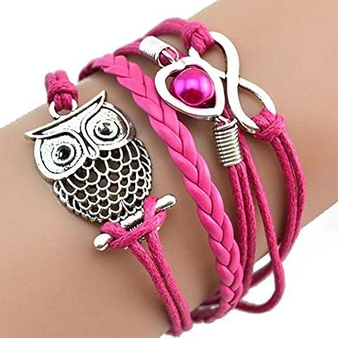 Mingfa.y Multilayer Charm Leather Bracelet Lovely Infinity Owl Pearl Friendship Cuff Bracelets for Women Girls (Hot pink)