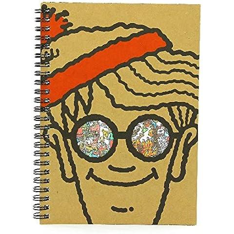 Where's Wally A5 Taccuino Copertina Morbida Foderate Blocco Carta Scuola Rétro Wiro Rilegato Waldo Ufficiale