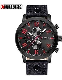 Curren nueva moda Casual reloj de cuarzo hombres de la gran Dial Negro Correa resistente al agua reloj de pulsera, 8192G