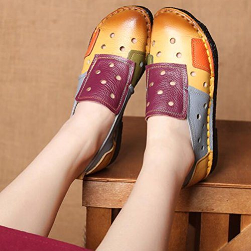 Vogstyle Damen Slipper Mokassins Kontrastfarbe Höhle Freizeitschuhe Handgemachtes Schuhe Gelb