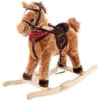 COSTWAY Schaukelpferd Kinder | Schaukeltier 74 x 33 x 62 cm | Schaukelspielzeug mit Musik | Spielzeug Plüschschaukel