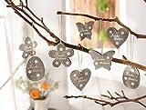 Deko-Hänger Frohe Ostern 16er Set Osterdeko Eier Blumen Schmetterlinge natur braun grau weiss Anhänger Holz Landhaus Ostereier 222 222473