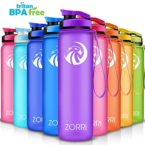 ZORRI Sport Trinkflasche auslaufsicher, BPA Frei & Umweltfreundlich Wasserflasche Für Kinder & Frauen, One Handed Open & Tritan, Für Gym/Outdoor/Camping - Lila - 800ml