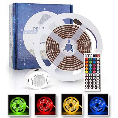 LACARI LED Lichterband Mit Fernbedienung - Inkl. Bewegungssensor - LED Strip Dimmbar - Farbwechsel -Bettlicht Lichtleiste Nachtlicht Streifen - Einfache Installation Der Stripes - RGB LED Band