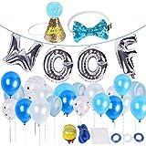 SCIROKKO Dog Birthday Party Supplies–WOOF Lettera Ballons–20PC–Palloncini in Lattice biodegradabile Cane Compleanno Cappello e Fiocco, per Pet Puppy Birthday Decorations