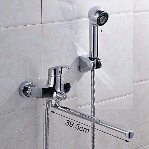 Chrom 395 mm Länge Outlet Whirlpool Wasserhahn Messing gedreht Badewanne Dusche Wasserhahn an der Wand montiert mit Handdusche und Halterung,